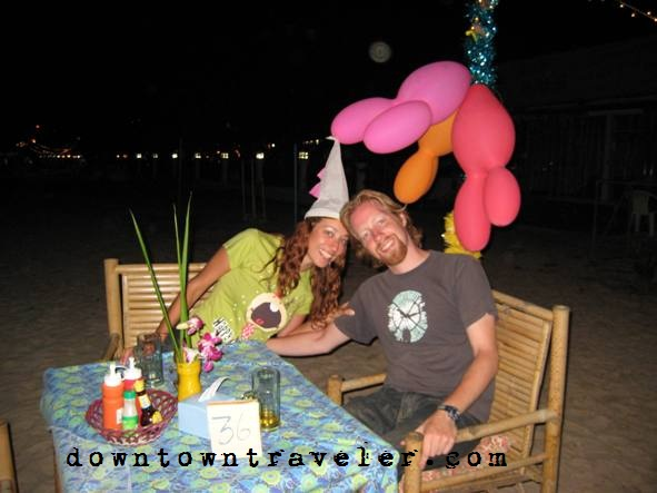 Celebrating New Years at a beachside restaurant in Koh Lanta, Thailand.