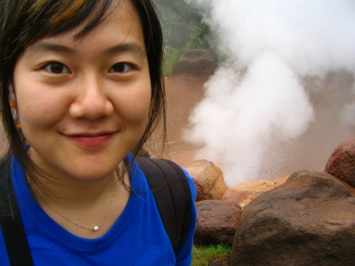 Korean travel blogger Runaway Juno at a hot spring in Beppu, Japan
