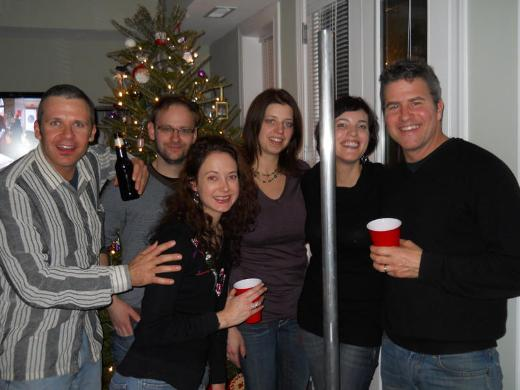 Festivus pole at a Christmas party
