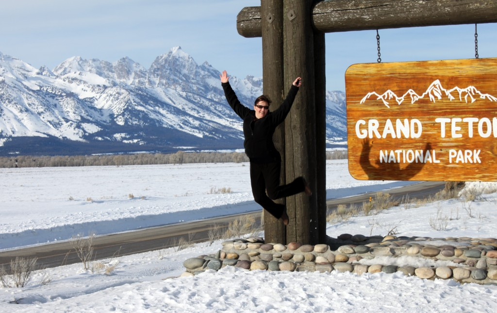 Welcome sign at Grand Teton National Park in Wyoming
