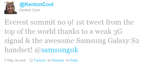 The first tweet ever sent from Mount Everest, by Kenton Cool (@KentonCool).