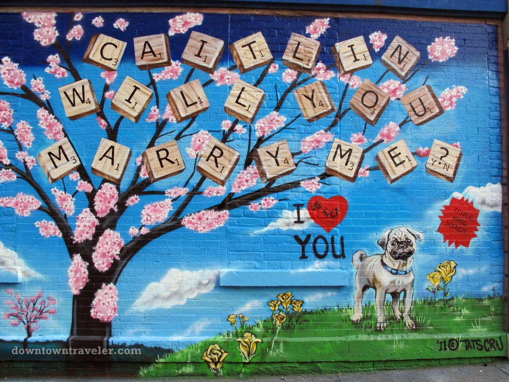 Street art marriage proposal on Ave A and Second Street in NYC's East Village
