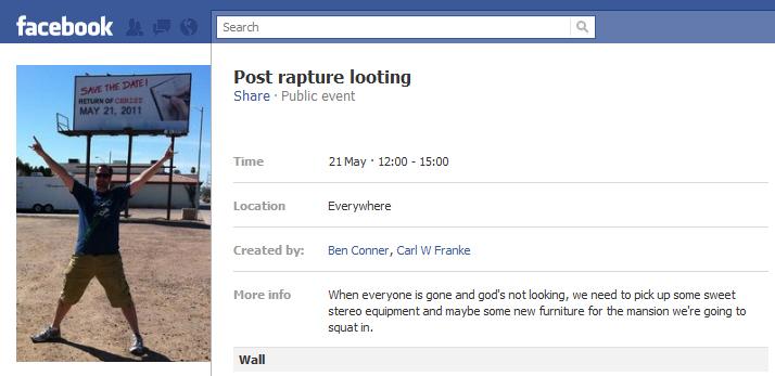 post rapture looting invite on Facebook