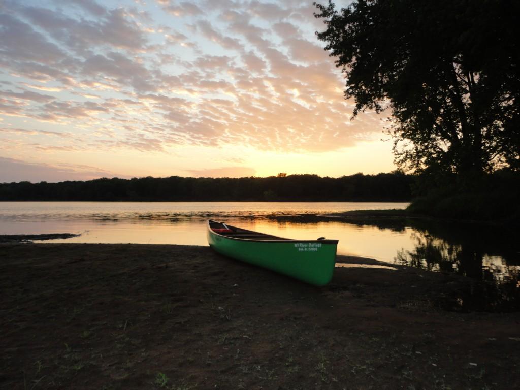 Canoe on a Wisconsin River sandbar
