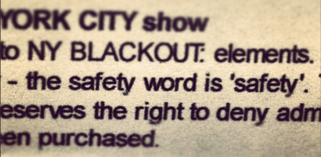 Blackout haunted house safety word
